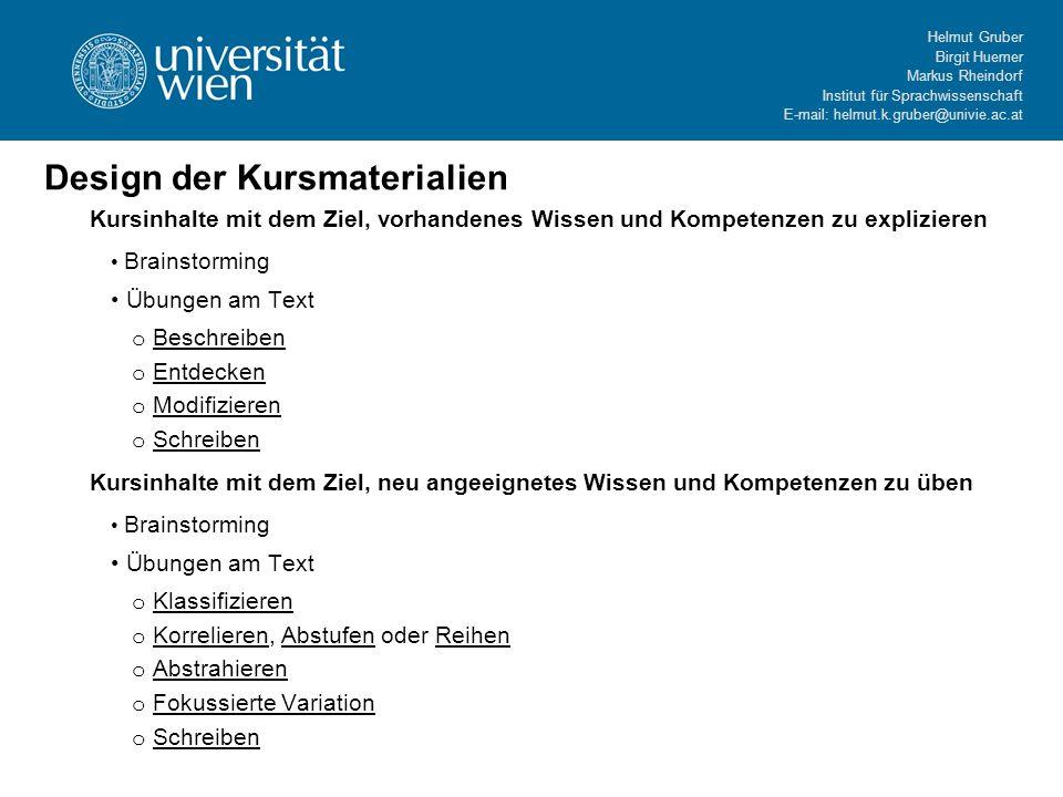 Helmut Gruber Birgit Huemer Markus Rheindorf Institut für Sprachwissenschaft E-mail: helmut.k.gruber@univie.ac.at Kursinhalte mit dem Ziel, vorhandene