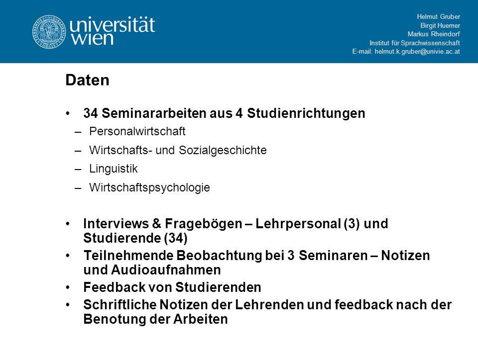 Helmut Gruber Birgit Huemer Markus Rheindorf Institut für Sprachwissenschaft E-mail: helmut.k.gruber@univie.ac.at Daten 34 Seminararbeiten aus 4 Studi