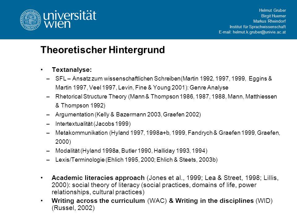Helmut Gruber Birgit Huemer Markus Rheindorf Institut für Sprachwissenschaft E-mail: helmut.k.gruber@univie.ac.at Theoretischer Hintergrund Textanalys