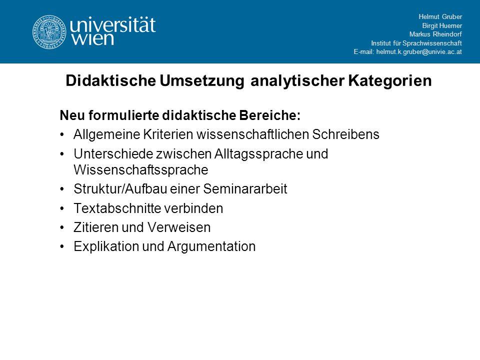 Helmut Gruber Birgit Huemer Markus Rheindorf Institut für Sprachwissenschaft E-mail: helmut.k.gruber@univie.ac.at Didaktische Umsetzung analytischer K
