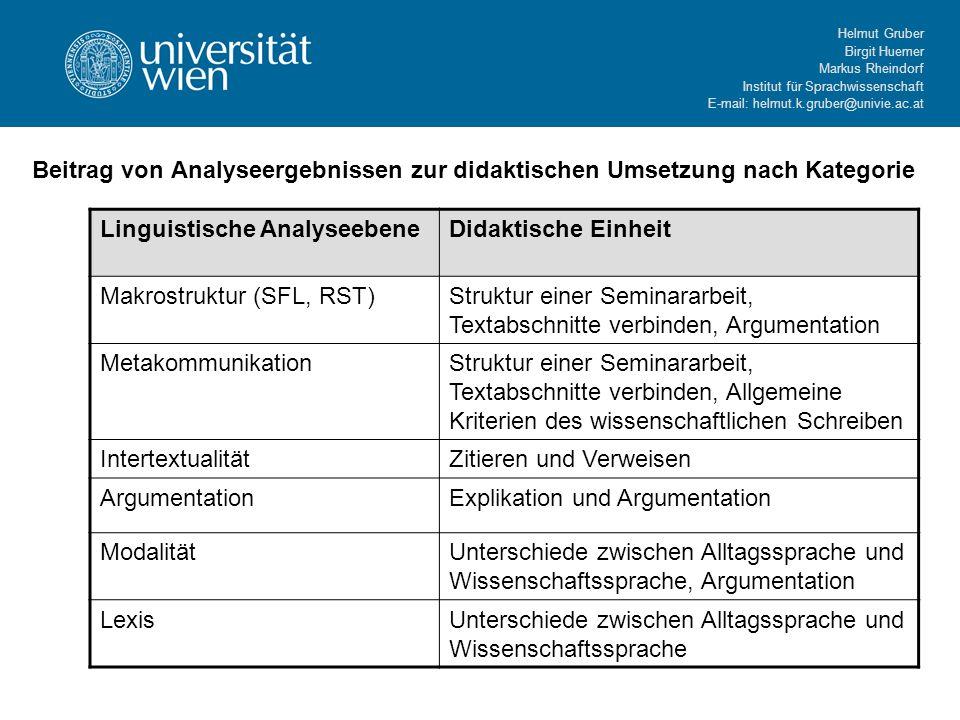 Helmut Gruber Birgit Huemer Markus Rheindorf Institut für Sprachwissenschaft E-mail: helmut.k.gruber@univie.ac.at Beitrag von Analyseergebnissen zur d