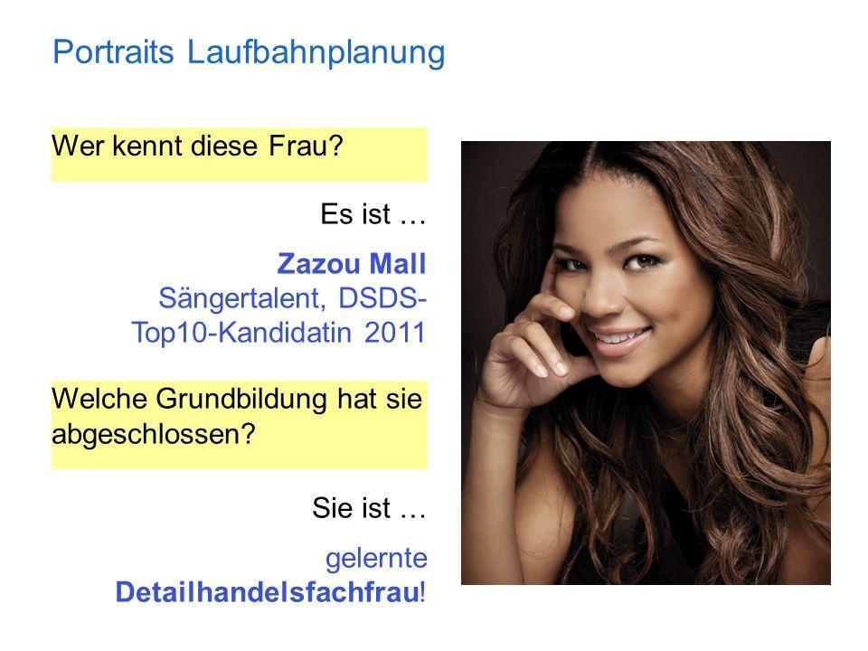 Portraits Laufbahnplanung Wer kennt diese Frau? Es ist … Zazou Mall Sängertalent, DSDS- Top10-Kandidatin 2011 Welche Grundbildung hat sie abgeschlosse