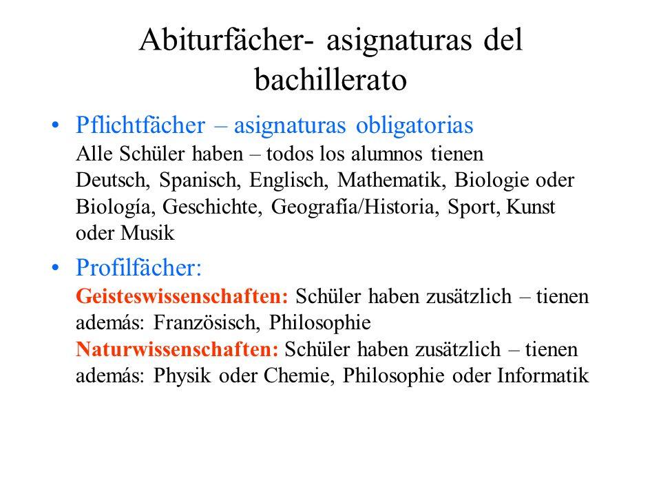 Abiturfächer- asignaturas del bachillerato Pflichtfächer – asignaturas obligatorias Alle Schüler haben – todos los alumnos tienen Deutsch, Spanisch, E