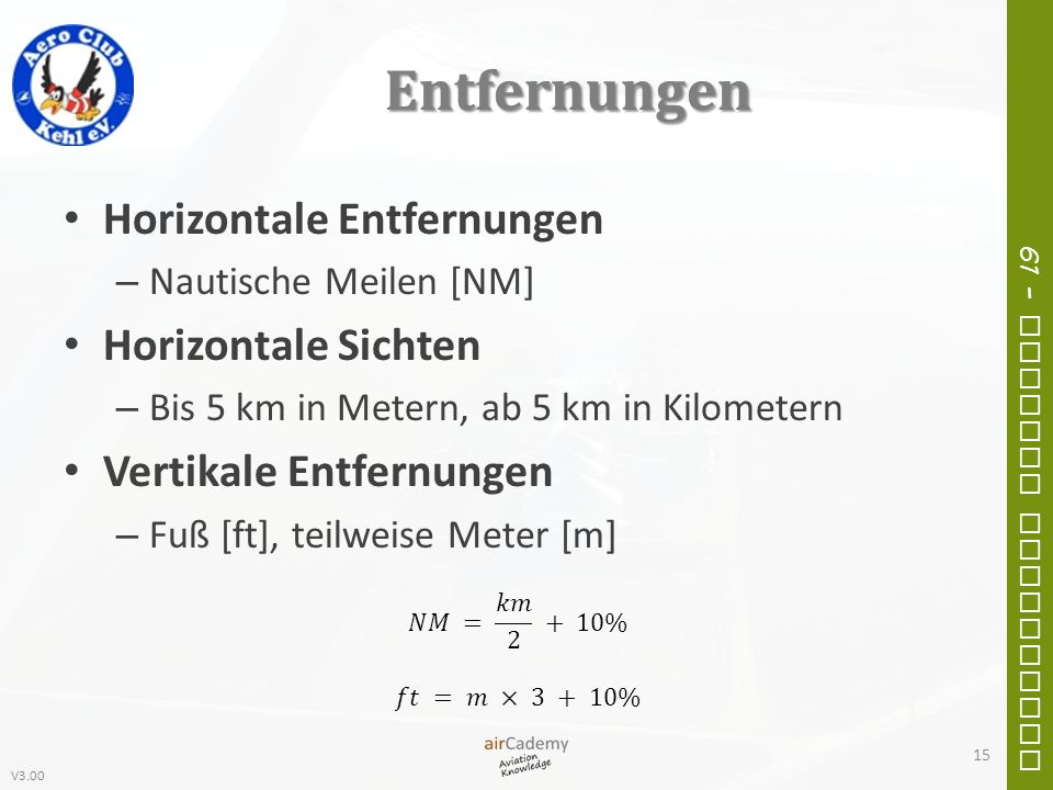 V3.00 61 – General Navigation Entfernungen Horizontale Entfernungen – Nautische Meilen [NM] Horizontale Sichten – Bis 5 km in Metern, ab 5 km in Kilom