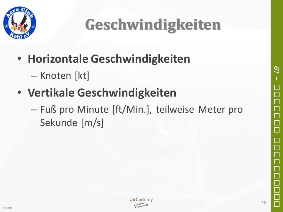 V3.00 61 – General Navigation Geschwindigkeiten Horizontale Geschwindigkeiten – Knoten [kt] Vertikale Geschwindigkeiten – Fuß pro Minute [ft/Min.], te