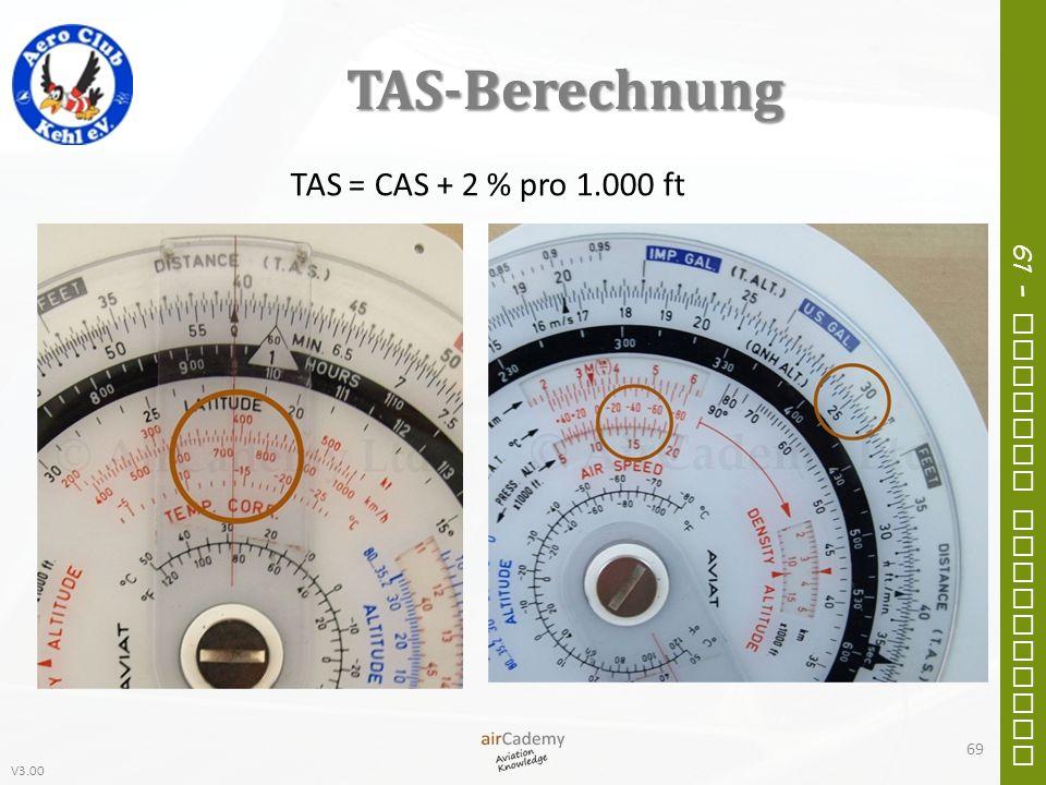 V3.00 61 – General Navigation TAS-Berechnung 69 TAS = CAS + 2 % pro 1.000 ft