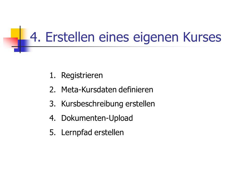 4. Erstellen eines eigenen Kurses 1.Registrieren 2.Meta-Kursdaten definieren 3.Kursbeschreibung erstellen 4.Dokumenten-Upload 5.Lernpfad erstellen