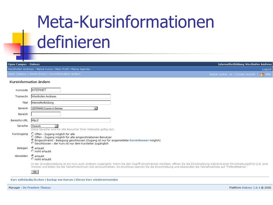 Meta-Kursinformationen definieren