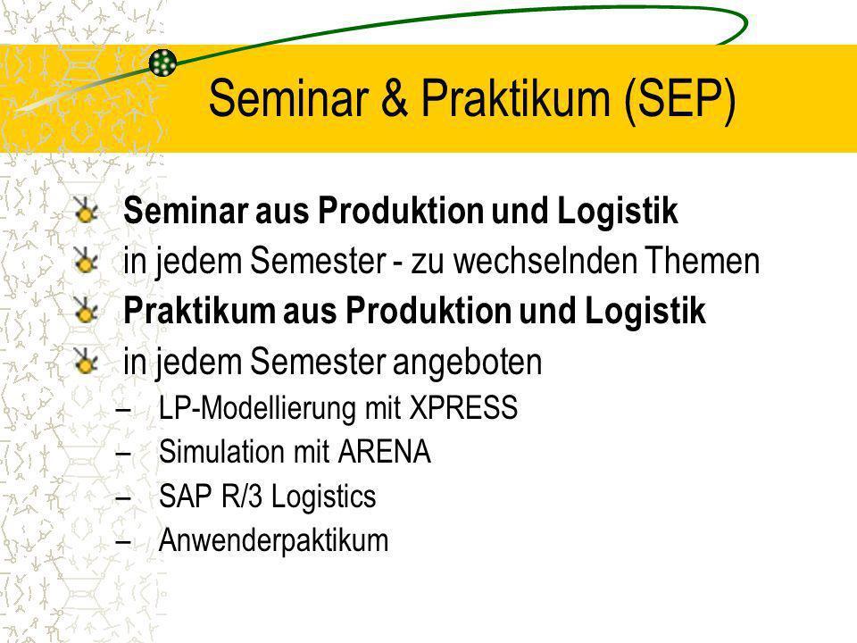 Seminar & Praktikum (SEP) Seminar aus Produktion und Logistik in jedem Semester - zu wechselnden Themen Praktikum aus Produktion und Logistik in jedem