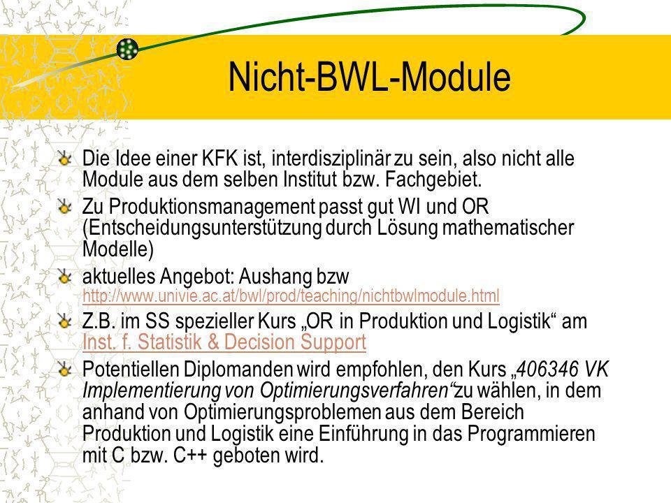 Nicht-BWL-Module Die Idee einer KFK ist, interdisziplinär zu sein, also nicht alle Module aus dem selben Institut bzw. Fachgebiet. Zu Produktionsmanag