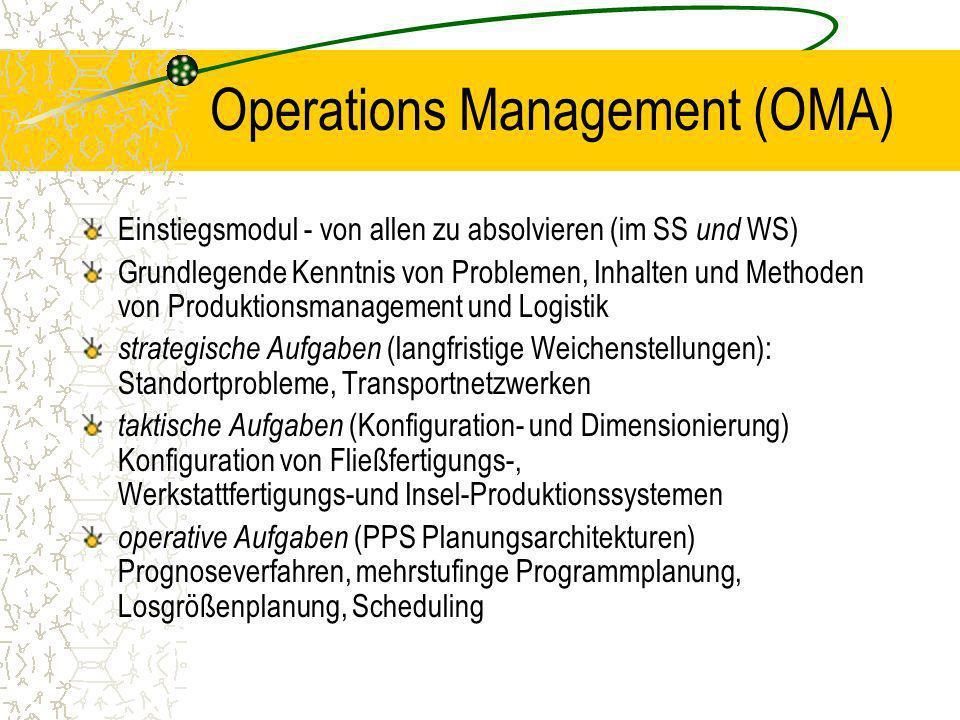 Operations Management (OMA) Einstiegsmodul - von allen zu absolvieren (im SS und WS) Grundlegende Kenntnis von Problemen, Inhalten und Methoden von Pr