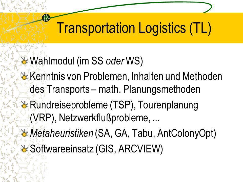 Transportation Logistics (TL) Wahlmodul (im SS oder WS) Kenntnis von Problemen, Inhalten und Methoden des Transports – math. Planungsmethoden Rundreis