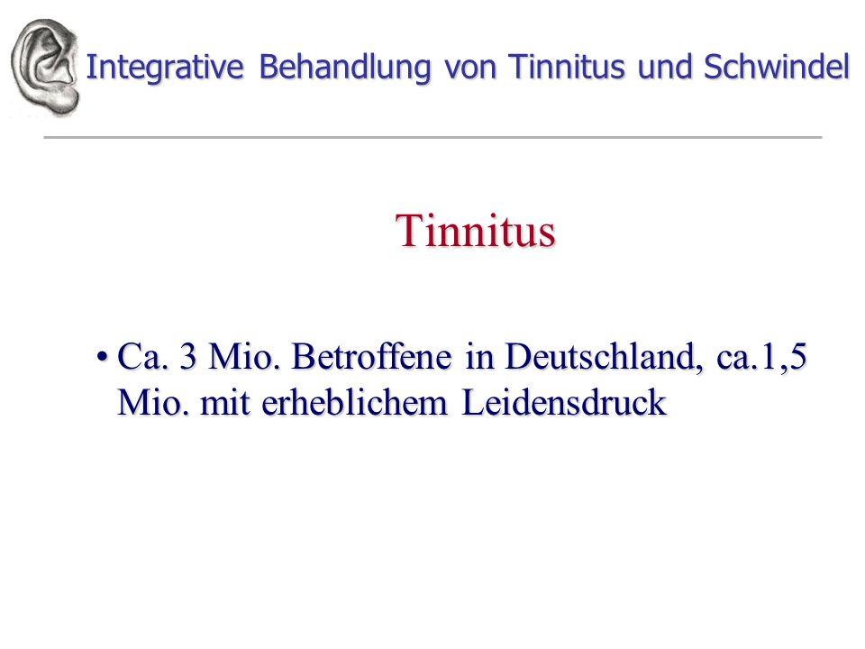 Integrative Behandlung von Tinnitus und Schwindel Tinnitus Ca. 3 Mio. Betroffene in Deutschland, ca.1,5 Mio. mit erheblichem LeidensdruckCa. 3 Mio. Be