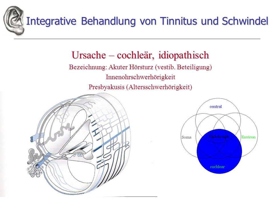 Integrative Behandlung von Tinnitus und Schwindel Ursache – cochleär, idiopathisch Bezeichnung: Akuter Hörsturz (vestib. Beteiligung) Innenohrschwerhö