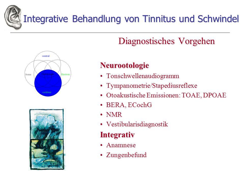 Integrative Behandlung von Tinnitus und Schwindel Diagnostisches Vorgehen Neurootologie TonschwellenaudiogrammTonschwellenaudiogramm Tympanometrie/Sta