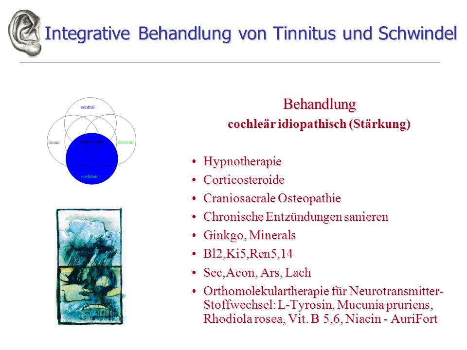 Integrative Behandlung von Tinnitus und Schwindel Behandlung cochleär idiopathisch (Stärkung) HypnotherapieHypnotherapie CorticosteroideCorticosteroid