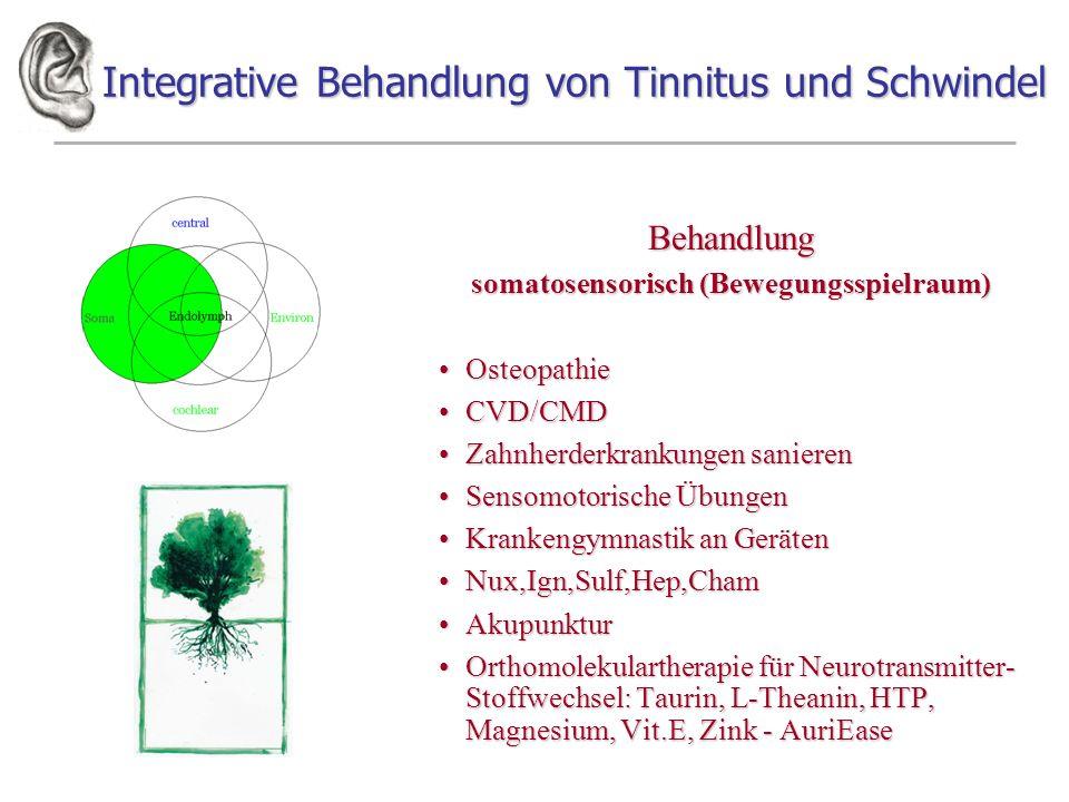 Integrative Behandlung von Tinnitus und Schwindel Behandlung somatosensorisch (Bewegungsspielraum) OsteopathieOsteopathie CVD/CMDCVD/CMD Zahnherderkra