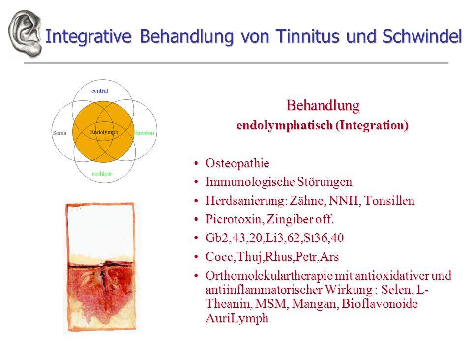 Integrative Behandlung von Tinnitus und Schwindel Behandlung endolymphatisch (Integration) OsteopathieOsteopathie Immunologische StörungenImmunologische Störungen Herdsanierung: Zähne, NNH, TonsillenHerdsanierung: Zähne, NNH, Tonsillen Picrotoxin, Zingiber off.Picrotoxin, Zingiber off.