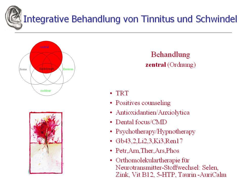 Tinnitus und integrative Behandlung Diagnostisches Vorgehen Zentraler Sensibilisierung Anamnese (Neurot. Konflikt, Zentralisierung)Anamnese (Neurot. K