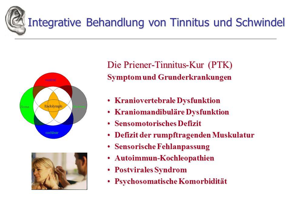 Integrative Behandlung von Tinnitus und Schwindel Die Priener-Tinnitus-Kur (PTK) Symptom und Grunderkrankungen Kraniovertebrale DysfunktionKranioverte
