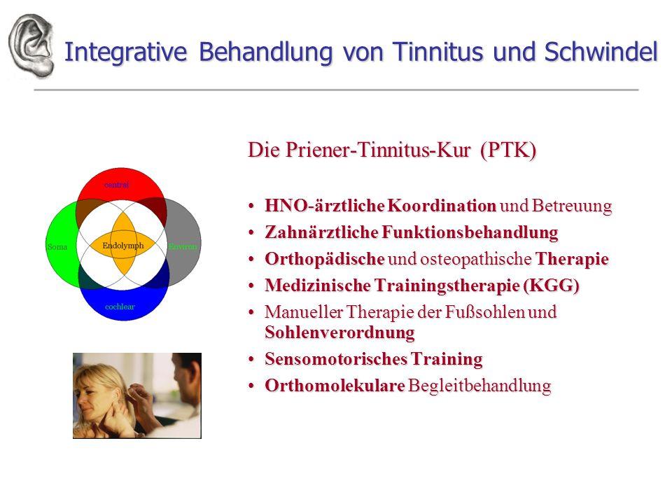Integrative Behandlung von Tinnitus und Schwindel Die Priener-Tinnitus-Kur (PTK) HNO-ärztliche Koordination und BetreuungHNO-ärztliche Koordination un