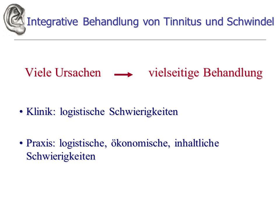 Integrative Behandlung von Tinnitus und Schwindel Viele Ursachen vielseitige Behandlung Klinik: logistische SchwierigkeitenKlinik: logistische Schwier