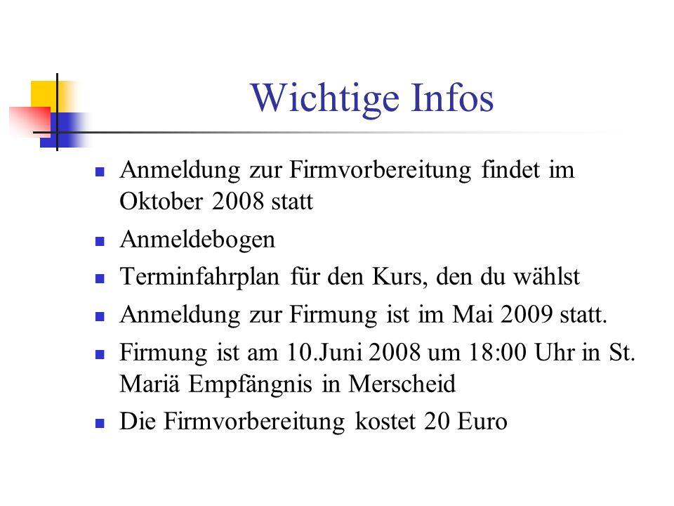 Wichtige Infos Anmeldung zur Firmvorbereitung findet im Oktober 2008 statt Anmeldebogen Terminfahrplan für den Kurs, den du wählst Anmeldung zur Firmu