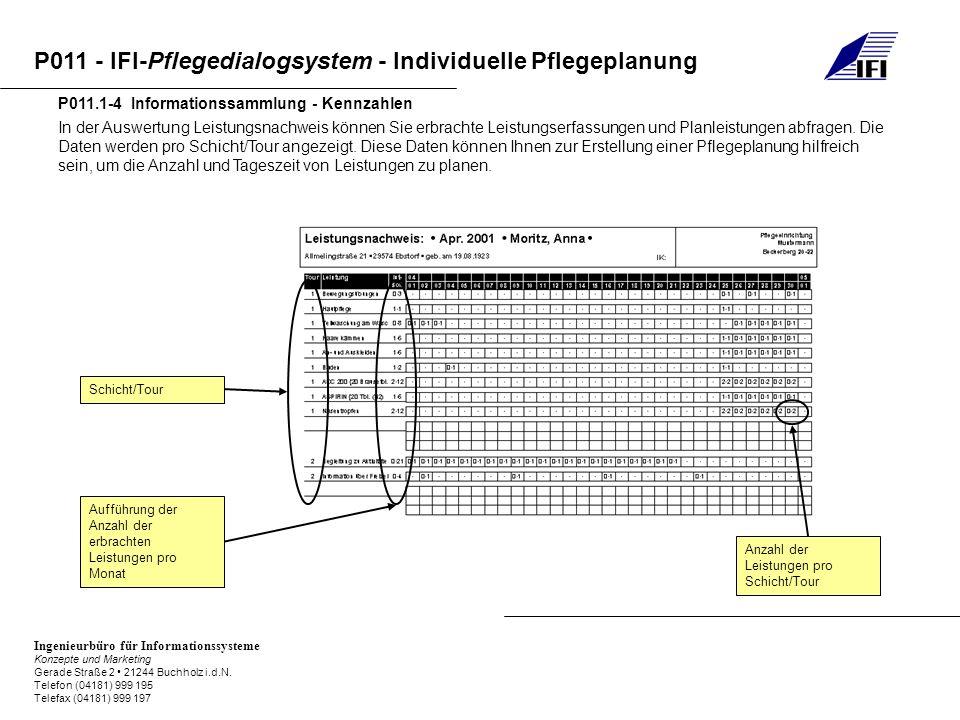 P011 - IFI-Pflegedialogsystem - Individuelle Pflegeplanung Ingenieurbüro für Informationssysteme Konzepte und Marketing Gerade Straße 2 21244 Buchholz i.d.N.