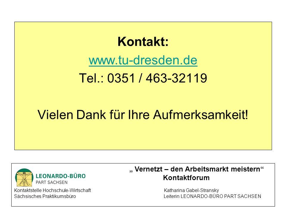 Kontakt: www.tu-dresden.de Tel.: 0351 / 463-32119 Vielen Dank für Ihre Aufmerksamkeit.