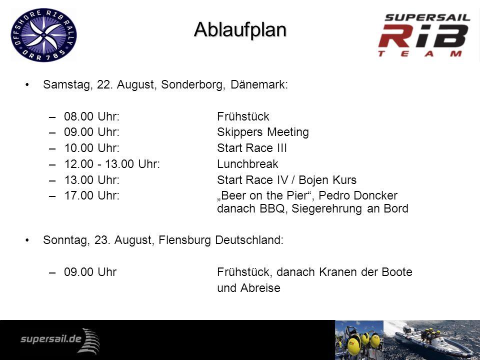 Ablaufplan Samstag, 22. August, Sonderborg, Dänemark: –08.00 Uhr: Frühstück –09.00 Uhr: Skippers Meeting –10.00 Uhr: Start Race III –12.00 - 13.00 Uhr