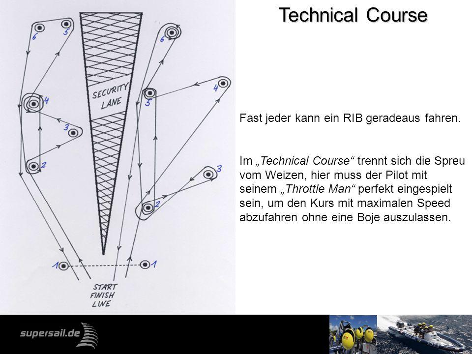 Technical Course Fast jeder kann ein RIB geradeaus fahren. Im Technical Course trennt sich die Spreu vom Weizen, hier muss der Pilot mit seinem Thrott
