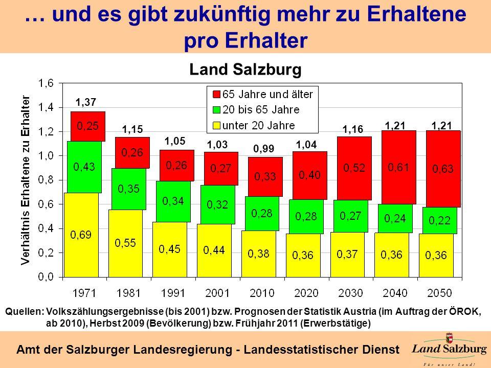 Seite 22 Amt der Salzburger Landesregierung - Landesstatistischer Dienst … und es gibt zukünftig mehr zu Erhaltene pro Erhalter 1,15 1,37 1,05 1,03 0,
