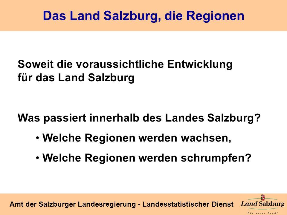Seite 25 Amt der Salzburger Landesregierung - Landesstatistischer Dienst Das Land Salzburg, die Regionen Soweit die voraussichtliche Entwicklung für d