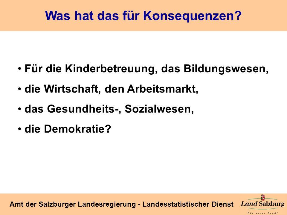 Seite 38 Amt der Salzburger Landesregierung - Landesstatistischer Dienst Was hat das für Konsequenzen? Für die Kinderbetreuung, das Bildungswesen, die