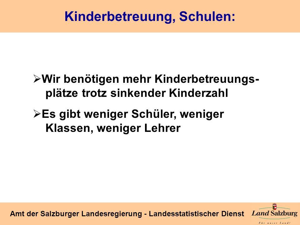 Seite 39 Amt der Salzburger Landesregierung - Landesstatistischer Dienst Kinderbetreuung, Schulen: Wir benötigen mehr Kinderbetreuungs- plätze trotz s