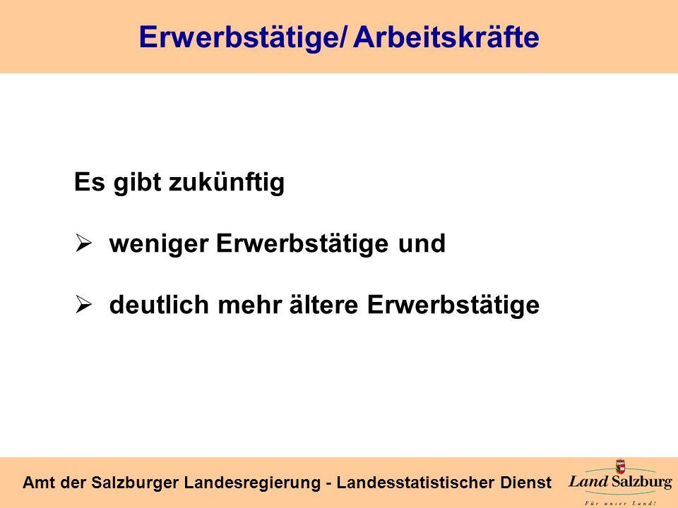 Seite 40 Amt der Salzburger Landesregierung - Landesstatistischer Dienst Erwerbstätige/ Arbeitskräfte Es gibt zukünftig weniger Erwerbstätige und deut