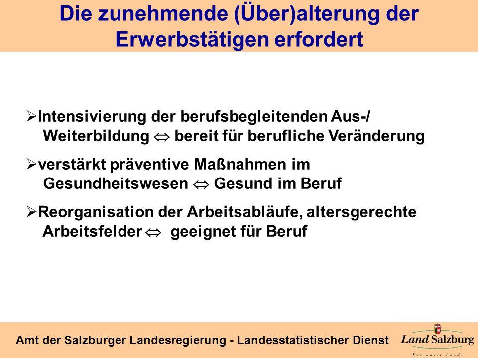 Seite 41 Amt der Salzburger Landesregierung - Landesstatistischer Dienst Die zunehmende (Über)alterung der Erwerbstätigen erfordert Intensivierung der