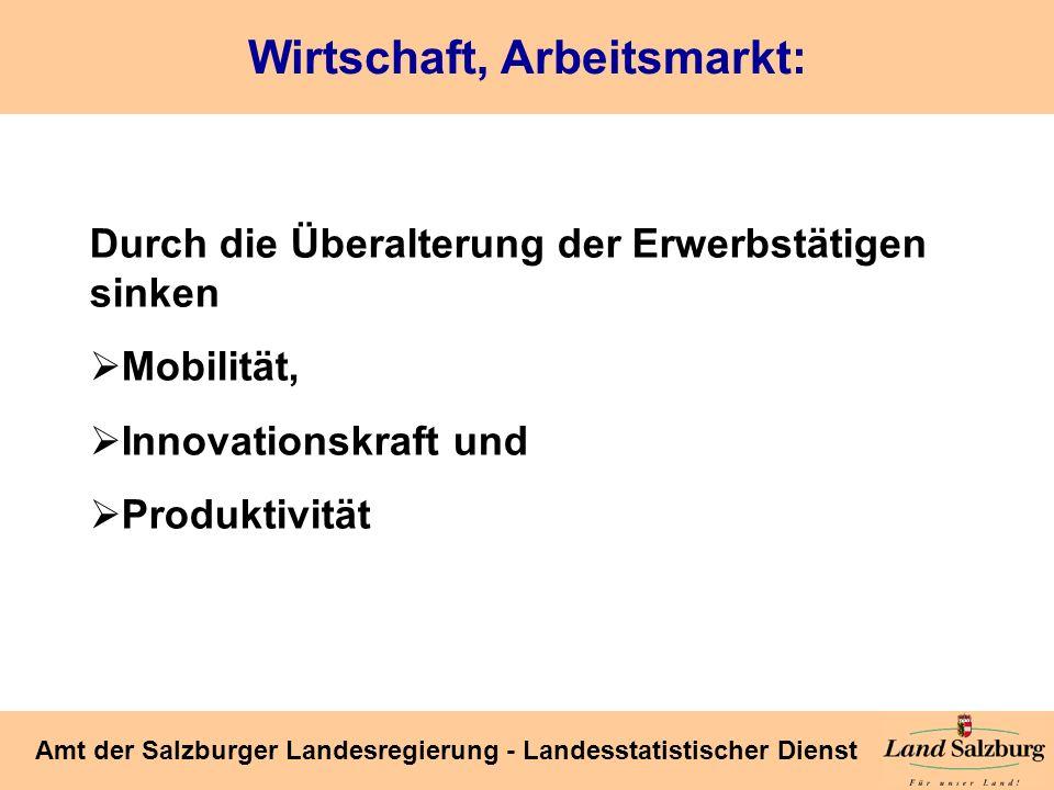 Seite 42 Amt der Salzburger Landesregierung - Landesstatistischer Dienst Wirtschaft, Arbeitsmarkt: Durch die Überalterung der Erwerbstätigen sinken Mo