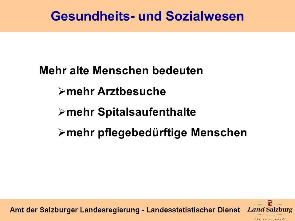 Seite 44 Amt der Salzburger Landesregierung - Landesstatistischer Dienst Gesundheits- und Sozialwesen Mehr alte Menschen bedeuten mehr Arztbesuche meh