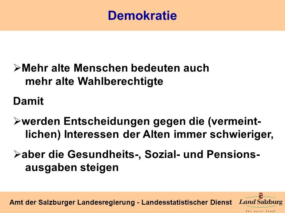 Seite 46 Amt der Salzburger Landesregierung - Landesstatistischer Dienst Demokratie Mehr alte Menschen bedeuten auch mehr alte Wahlberechtigte Damit w