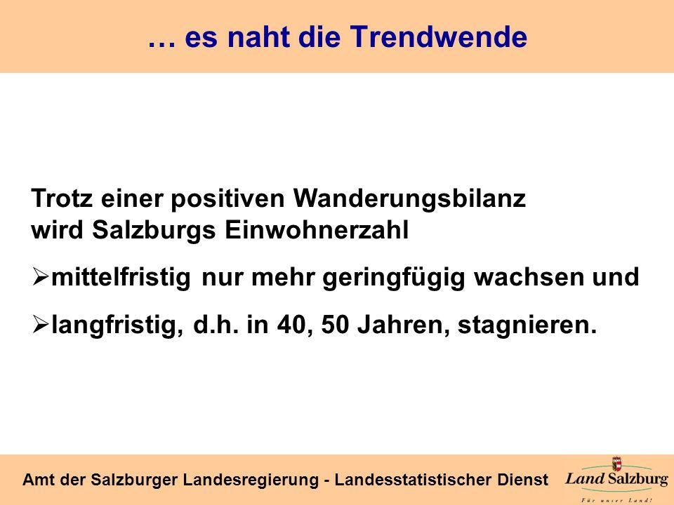 Seite 6 Amt der Salzburger Landesregierung - Landesstatistischer Dienst … es naht die Trendwende Trotz einer positiven Wanderungsbilanz wird Salzburgs
