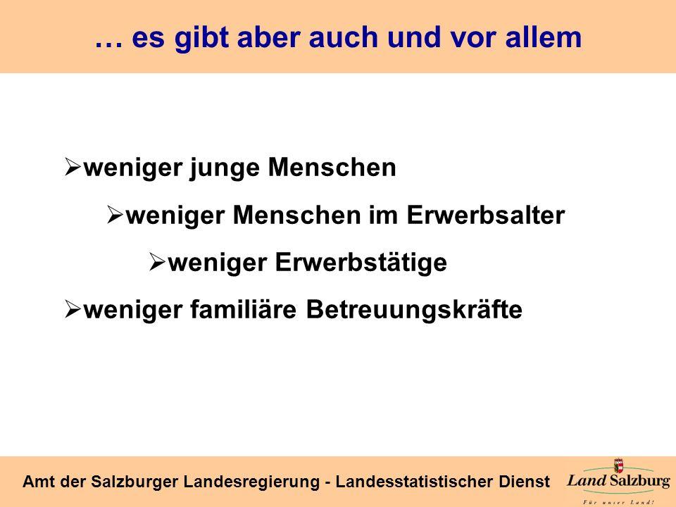Seite 19 Amt der Salzburger Landesregierung - Landesstatistischer Dienst … und bald weniger und vor allem ältere Erwerbstätige Land Salzburg 171,2 205,3 235,3 253,8 266,5 267,9 257,5 254,8 256,7 Quellen: Volkszählungsergebnisse (bis 2001) bzw.