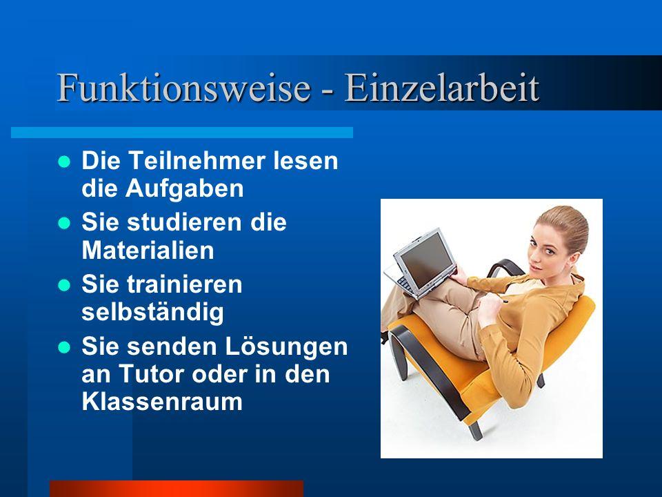 Funktionsweise Der Tutor erteilt Aufgaben per e-mail Der Tutor stellt Materialien zum Selbststudium sowie Links zum Internet in die Mediathek Der Tuto