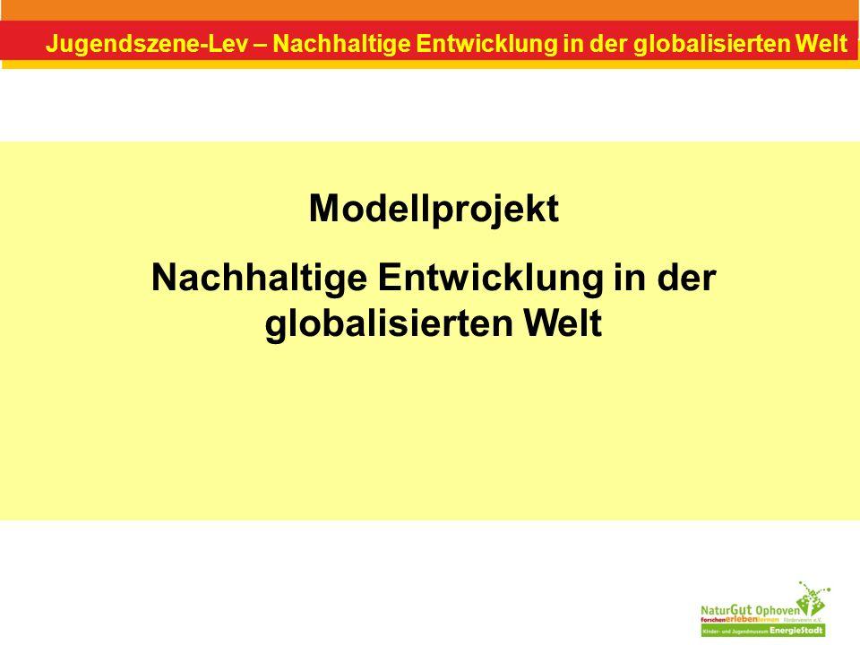 Jugendszene-Lev – Nachhaltige Entwicklung in der globalisierten Welt Ziel des Projektes Stärkere Verankerung des Themenbereichs Globales Lernen in den Leverkusener Jugendzentren