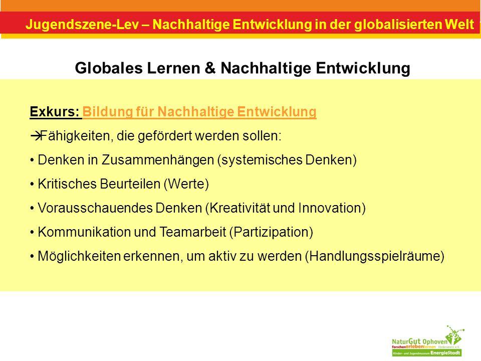 Jugendszene-Lev – Nachhaltige Entwicklung in der globalisierten Welt Globales Lernen & Nachhaltige Entwicklung Exkurs: Bildung für Nachhaltige Entwick
