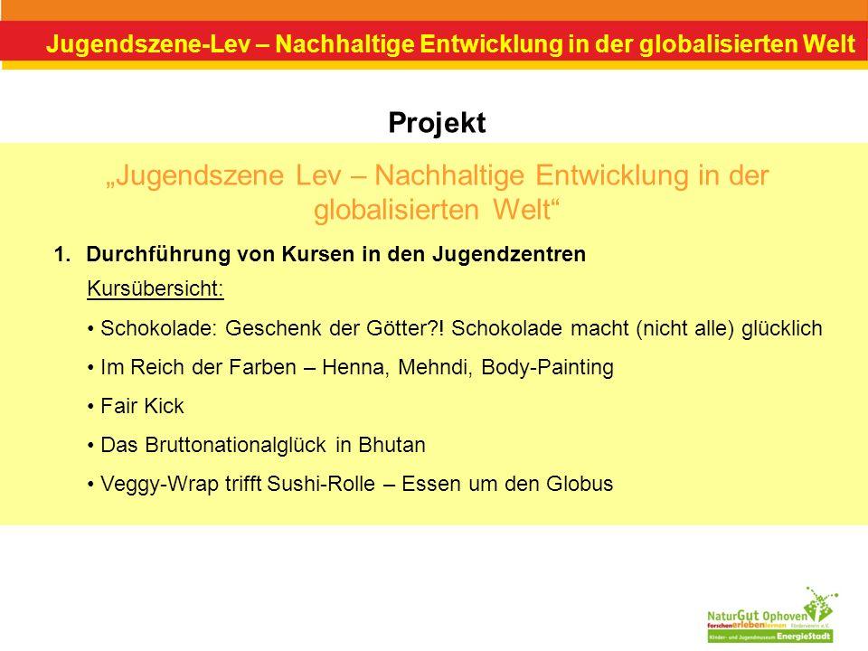 Jugendszene-Lev – Nachhaltige Entwicklung in der globalisierten Welt Projekt Jugendszene Lev – Nachhaltige Entwicklung in der globalisierten Welt 1.Du