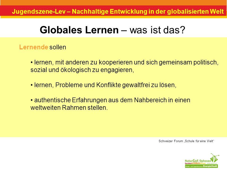 Jugendszene-Lev – Nachhaltige Entwicklung in der globalisierten Welt Globales Lernen – was ist das? Lernende sollen lernen, mit anderen zu kooperieren