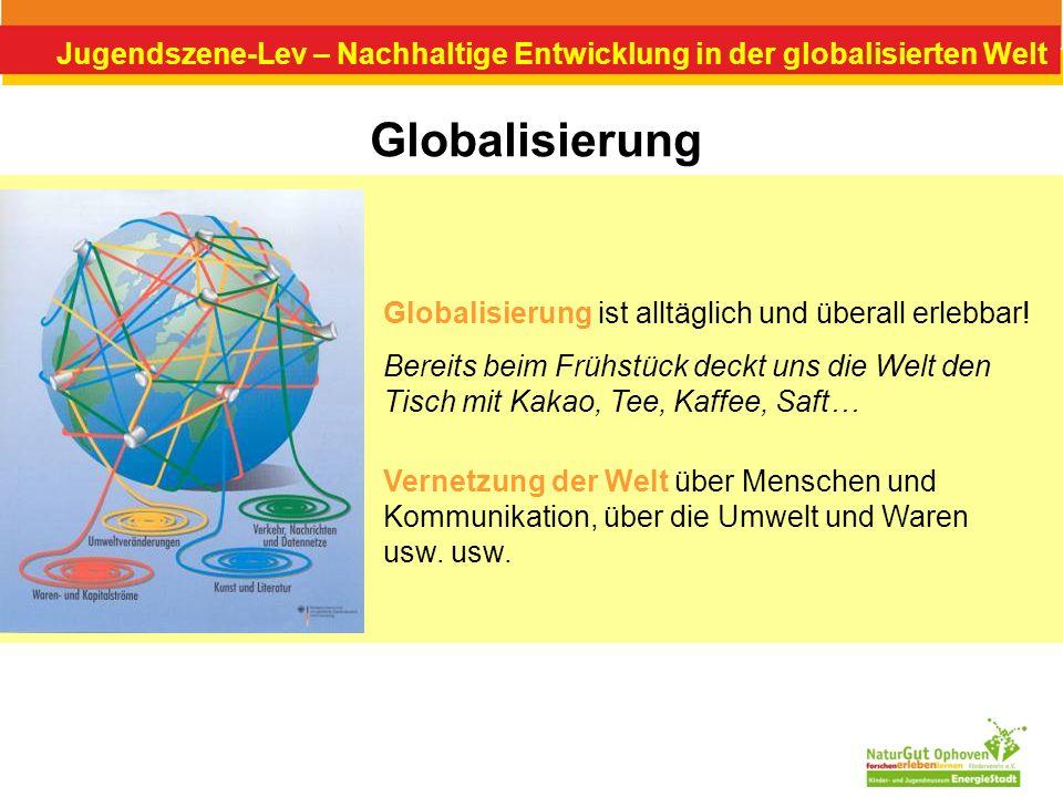Jugendszene-Lev – Nachhaltige Entwicklung in der globalisierten Welt Globales Lernen & Nachhaltige Entwicklung Globales Lernen hat alle Perspektiven einer Nachhaltigen Entwicklung – Gesellschaft, Umwelt und Wirtschaft – sowie deren Zusammenspiel im Blick, rückt aber mit Absicht den Raum und die soziale Gerechtigkeit in den Mittelpunkt.