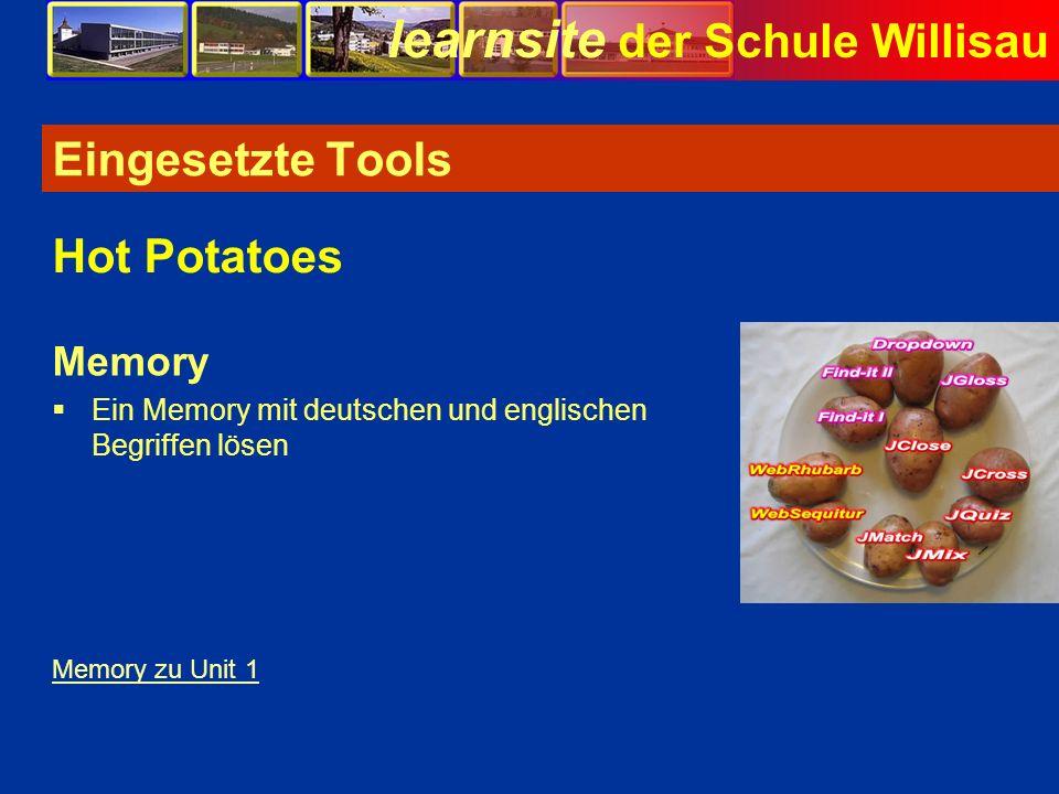 learnsite der Schule Willisau Eingesetzte Tools Memory Ein Memory mit deutschen und englischen Begriffen lösen Hot Potatoes Memory zu Unit 1 Bild
