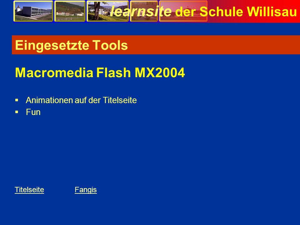 learnsite der Schule Willisau Eingesetzte Tools Animationen auf der Titelseite Fun Macromedia Flash MX2004 TitelseiteFangis